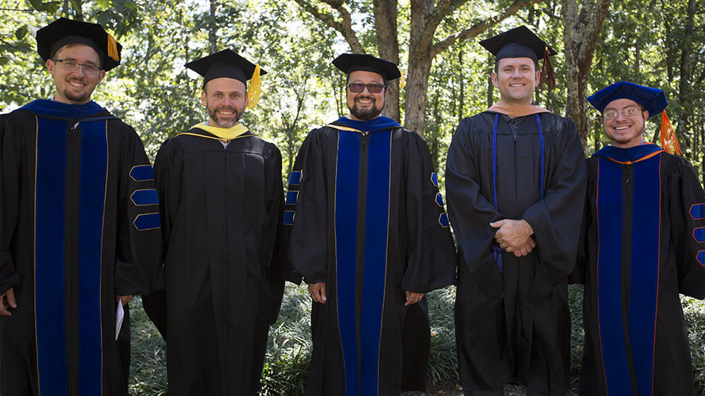 New faculty members, from left to right: Dr. Heath Garris, Mr. Brian Hecker, Dr. David Saiki, Mr. Mark Slavovsky, and Dr. Chris Cyr (photo: Communications Office)