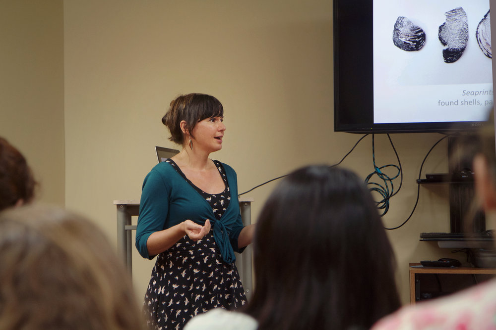 "Artist Jenine Shereos addresses Covenant art students and others at ""Inmaterial."" Photo by Caleb Smith."
