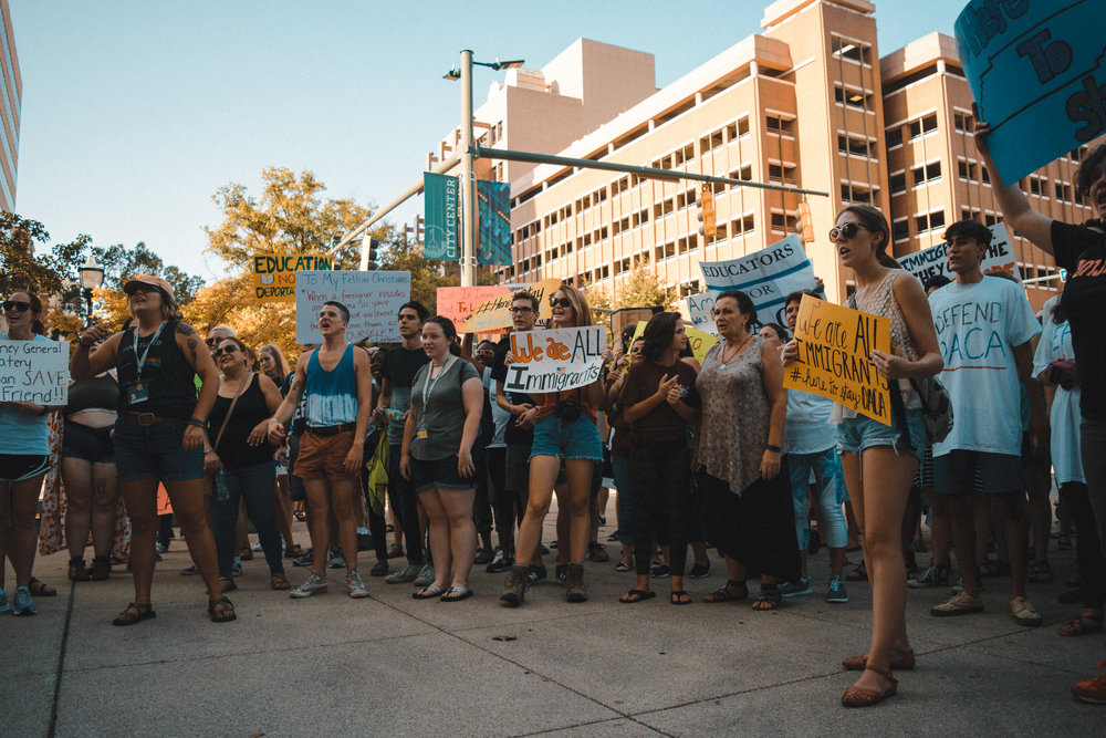 Protesters at a march in support of DACA in downtown Chattanooga. Photo by Peyden Valentine.