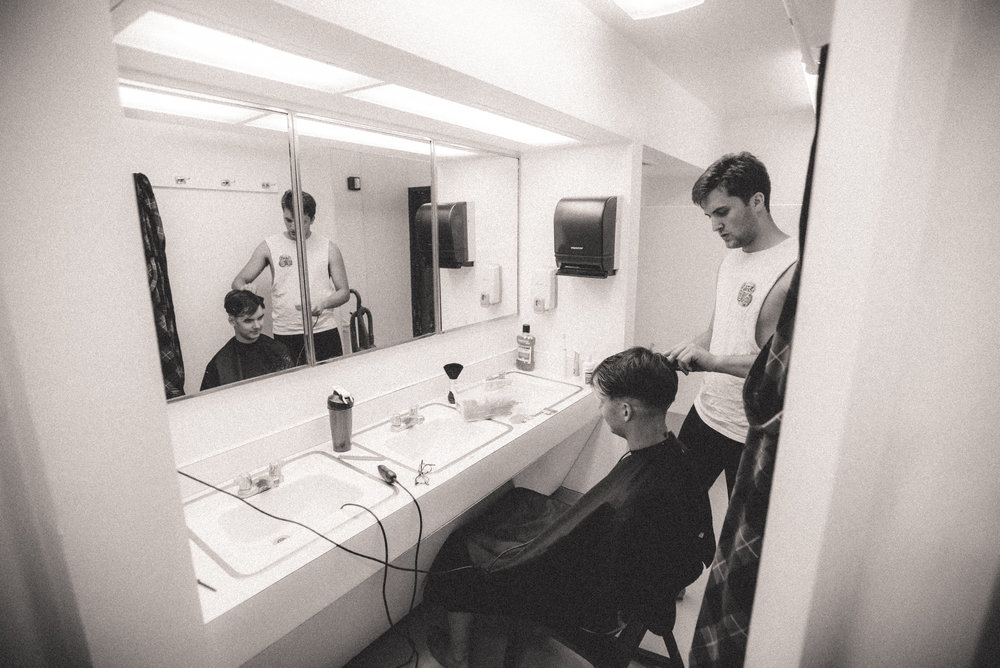 Entrepreneurs in Founders have recently started a full-service barbershop in one of the bathrooms. Go figure. (Photo by Reed Schick.)