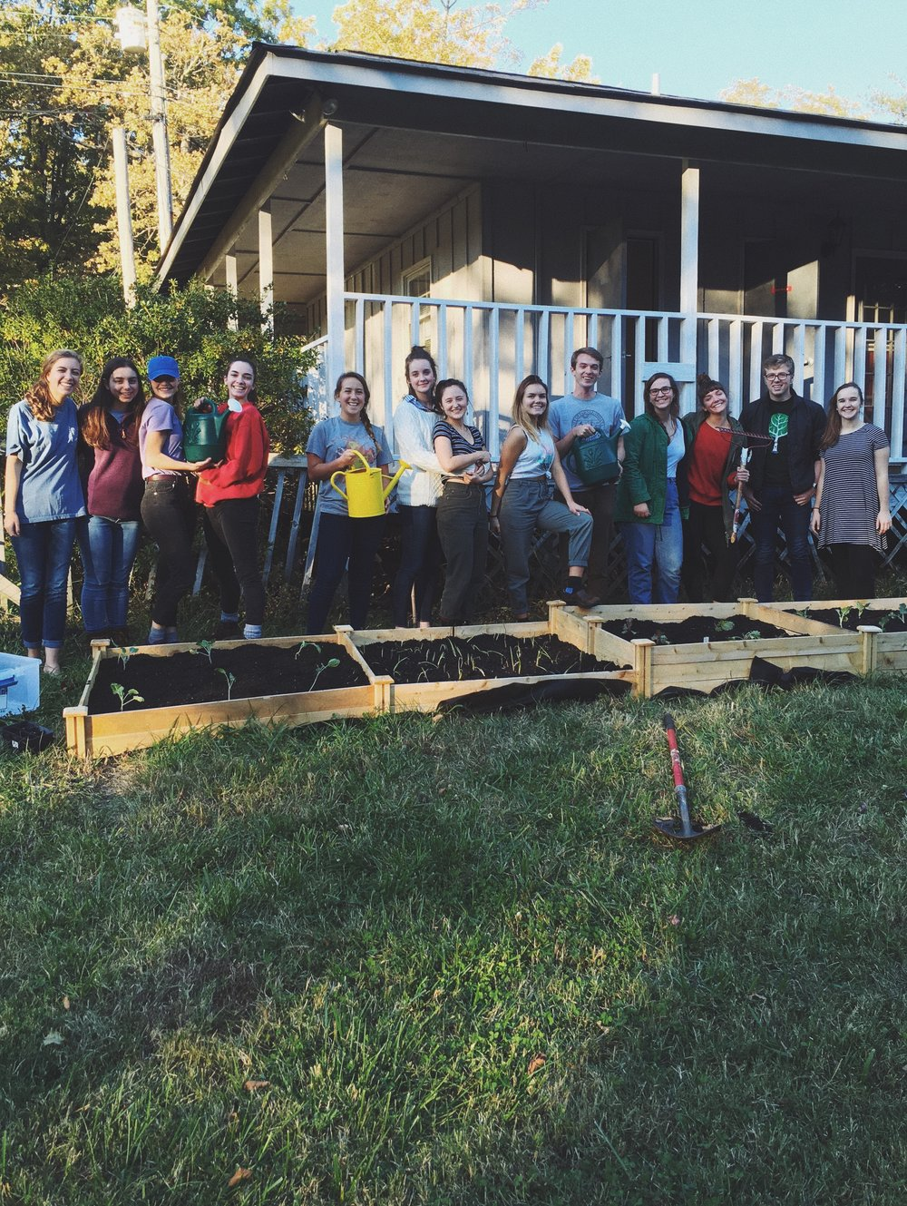 Over a dozen students came out to help the Growers Club create their new garden area, near the Cottages. (Photo courtesy of the Growers Club.)