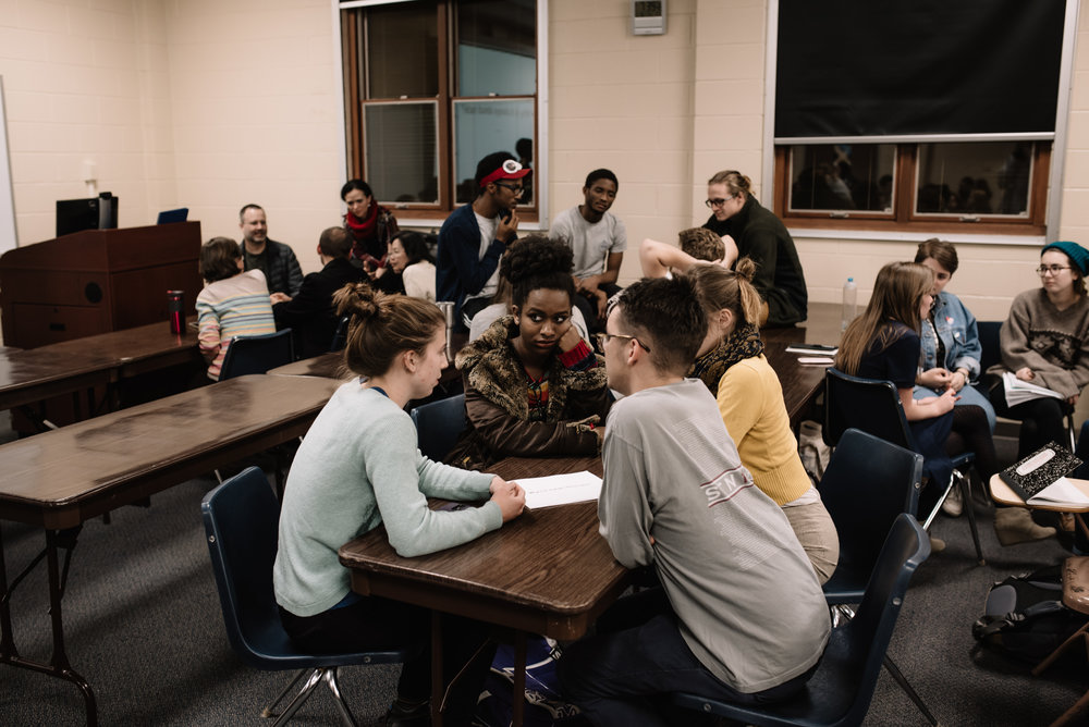 Students from a wide variety of backgrounds gathered at The Race Card Project to engage in dialogue and share their stories. (Photo by Reed Schick.)