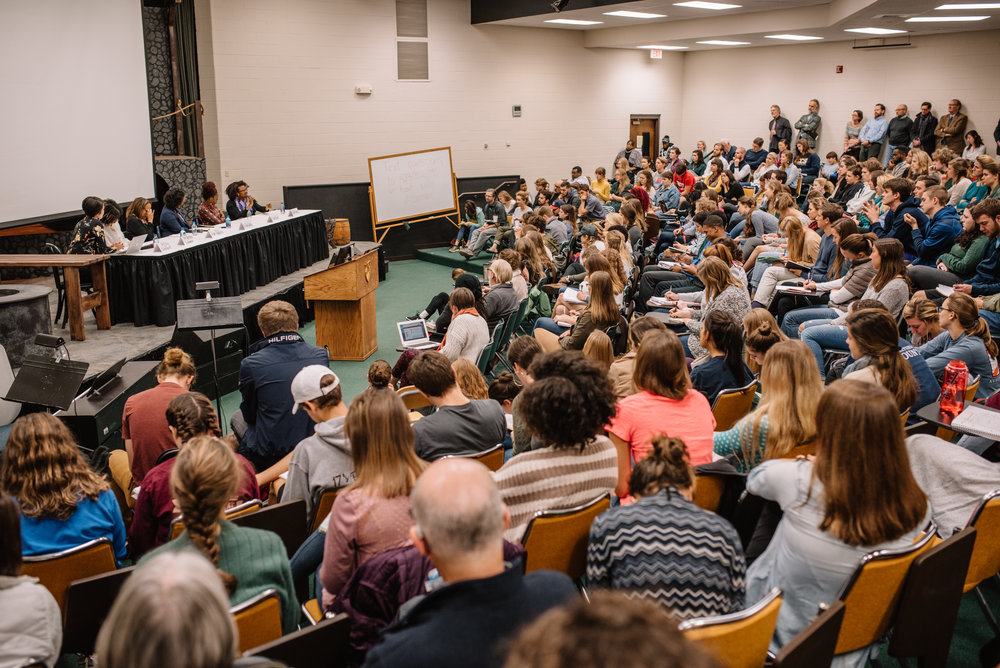 Students attending the panel discussion on race. (Photo by Reed Schick.)