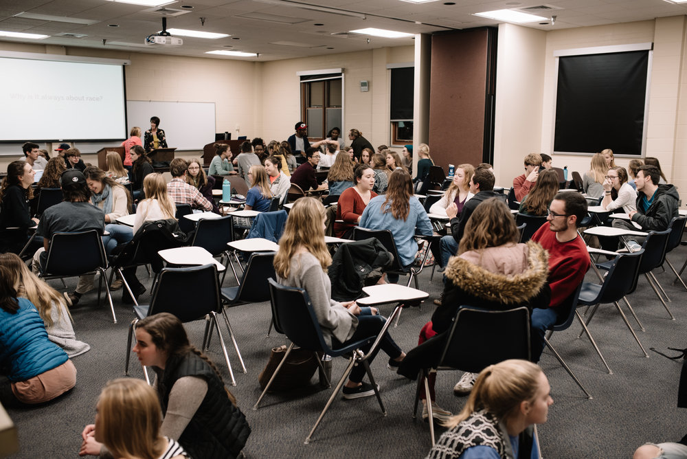 Over 100 students attended the Race Card Project, led by Prof. Weichbrodt. (Photo by Reed Schick.)