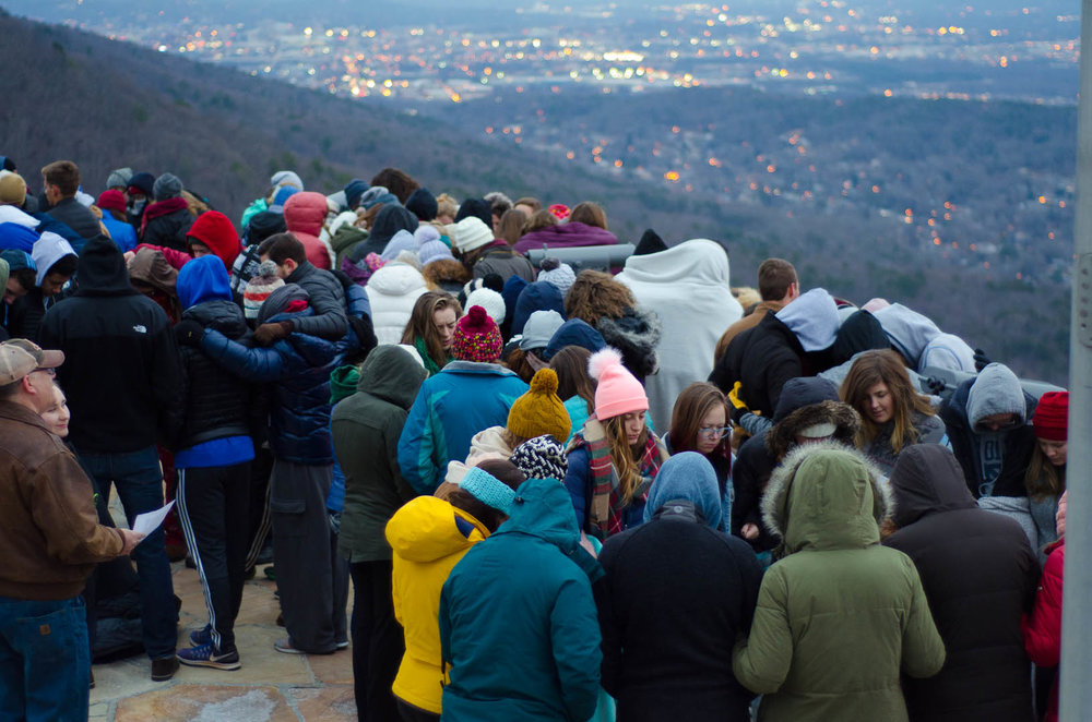Covenant students and faculty praying at the Rock City overlook on Day of Prayer. Photo by Daniel Fremen.