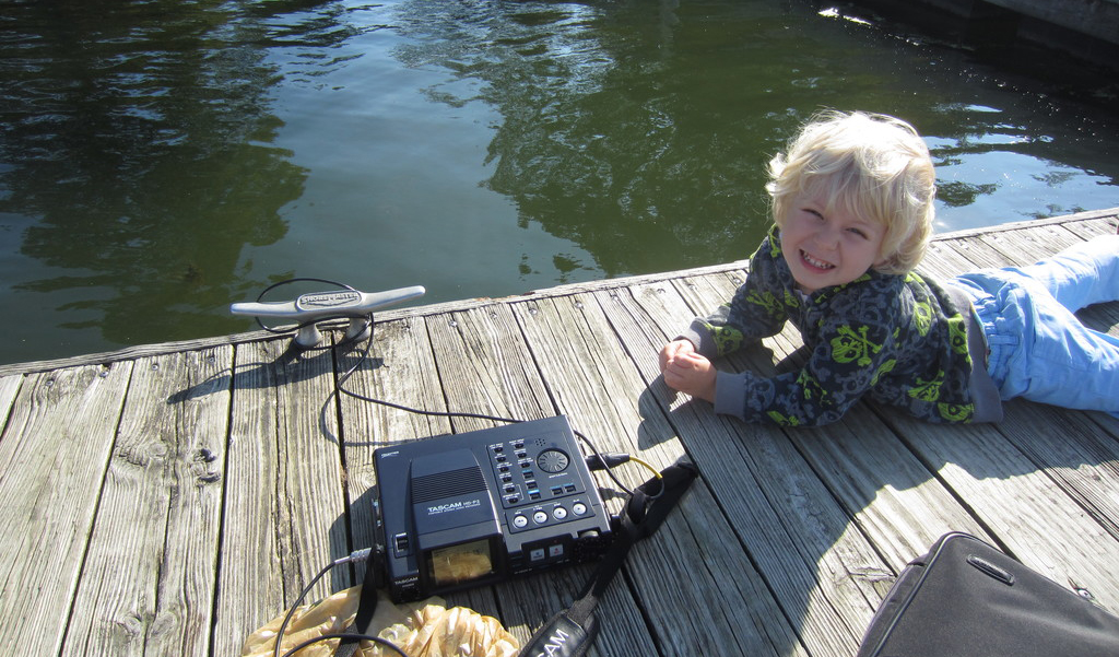 "My ""assistant"" and I making hydrophone recordings at the lake"