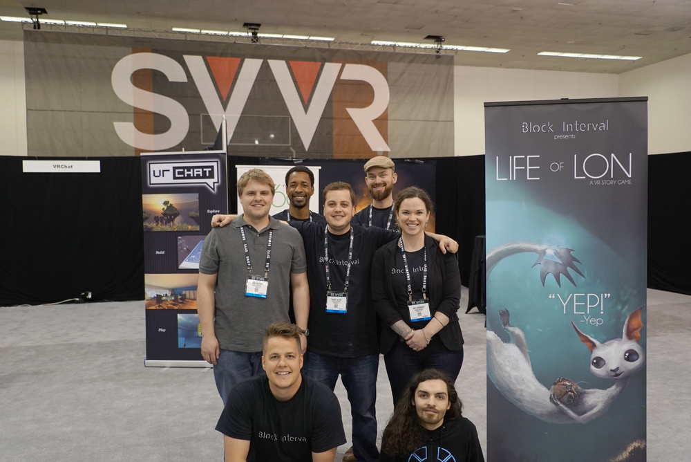 Dave Nelson, Stephane Philippe-Auguste, Daniel Allen, Courtland Winslow, Amy Goodnewt, John Allen and Josh Corvinus at SVVR 2016.