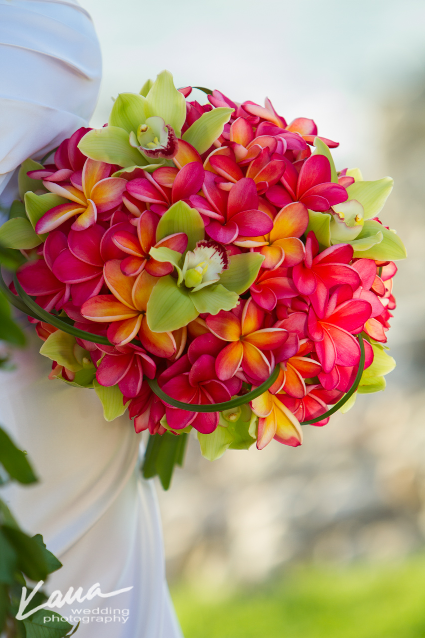 Kaua Wedding Photography  Plumeria Bouquet - Season: May - November