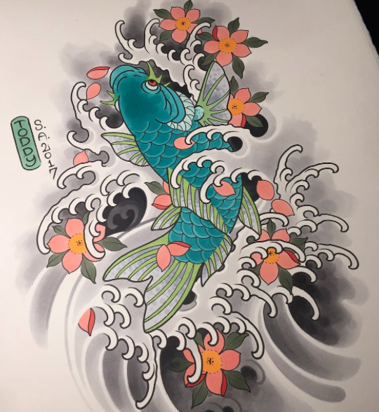 Koi design available to be tattooed by Mike Todd