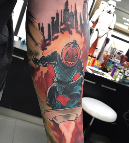 Marvel sleeve in progress by Dan Mawdsley