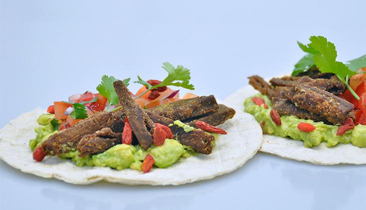 tortilla with vegan beef