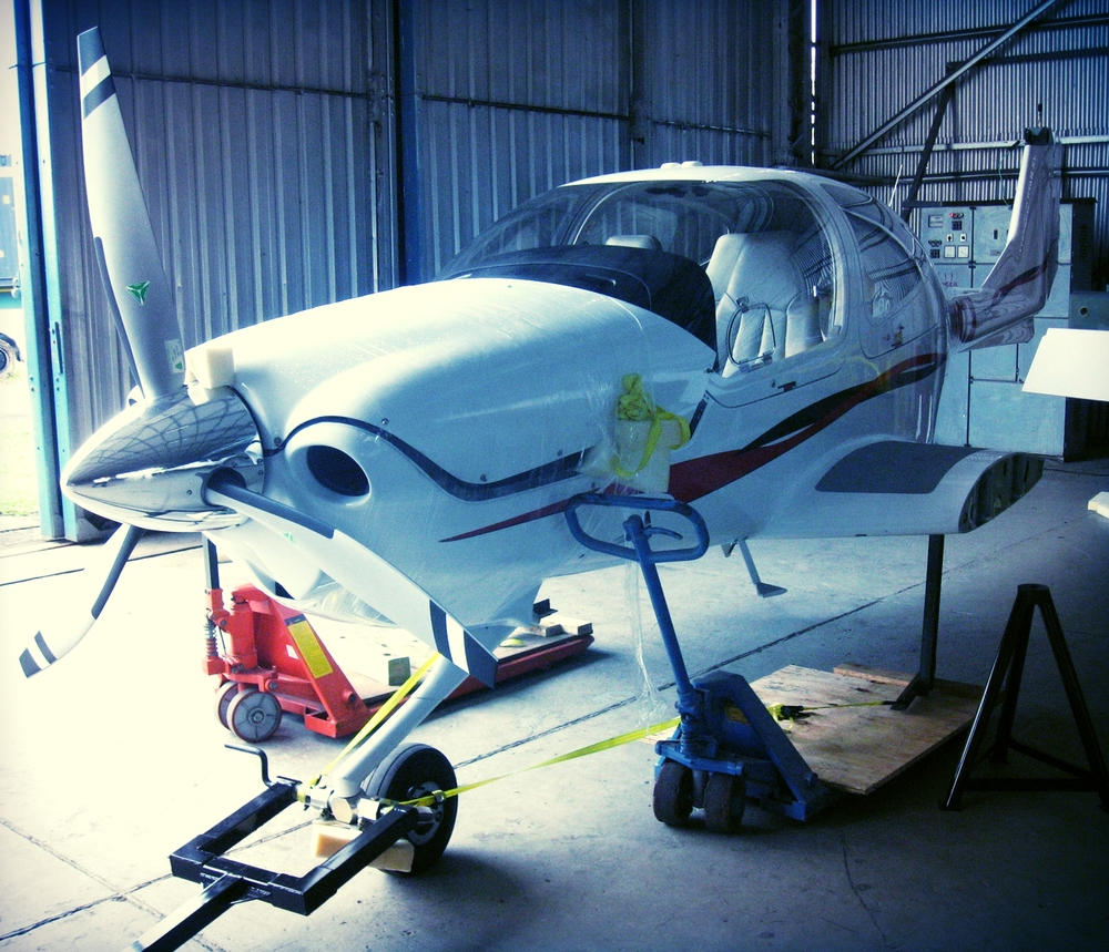 Aircraft being prepared for assembly after importing from USA via sea freight.