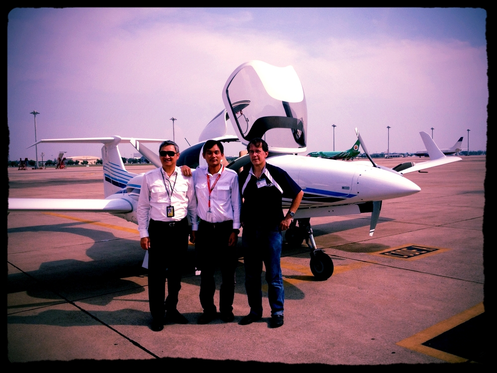 Brand new DA42NG in Bangkok AAS Ltd Diamond service center enroute Malaysia