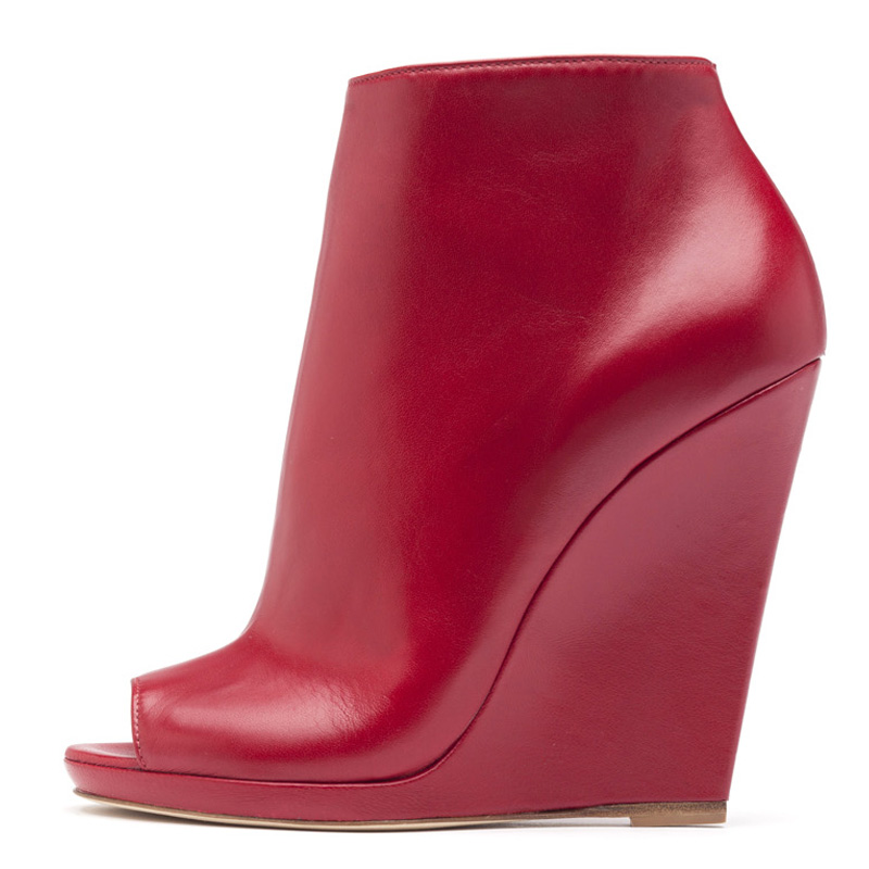 Liam Fahy: Alyse red nappa ankle boots | Shoes,Shoes > Ankle boots,Shoes > Wedges -  Hiphunters Shop