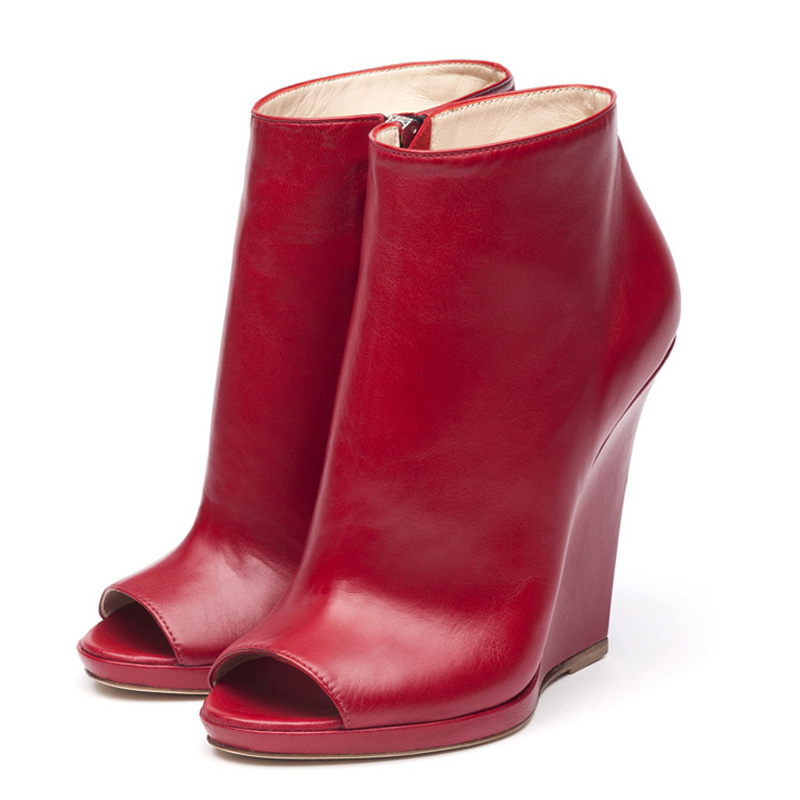 Alyse red nappa ankle boots