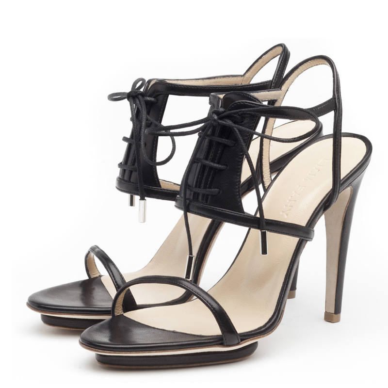 Chaunte black nappa sandals