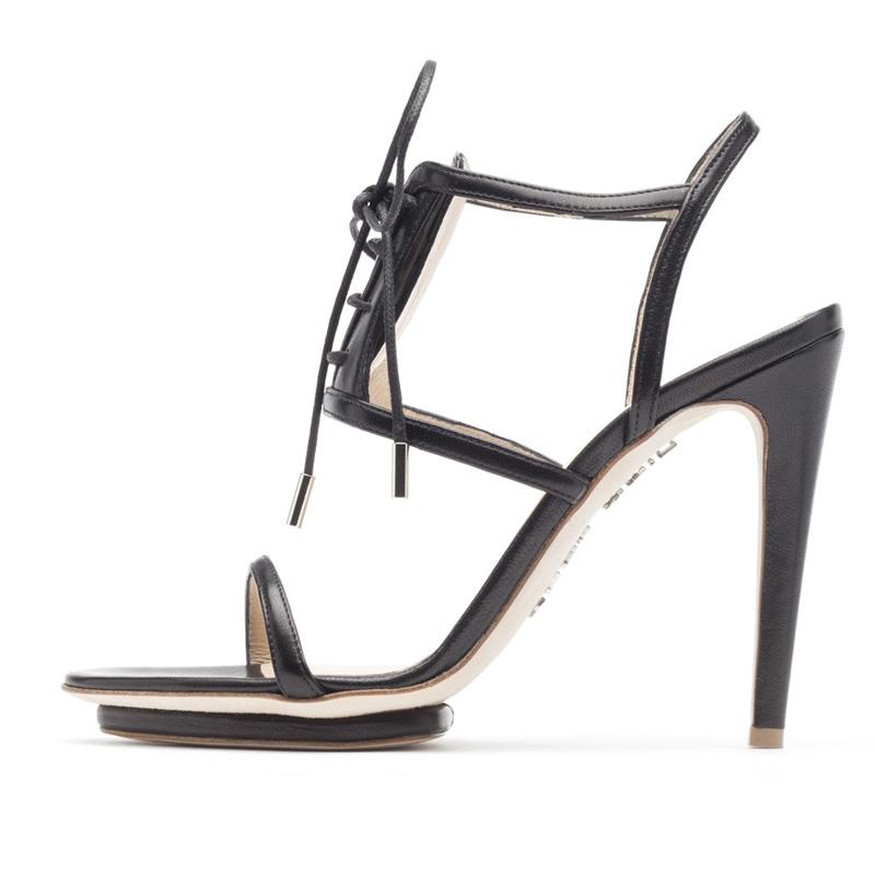Liam Fahy: Chaunte black nappa sandals | Shoes,Shoes > Heels,Shoes > Sandals -  Hiphunters Shop