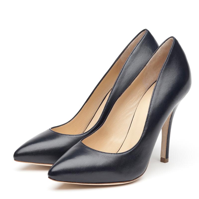 Veva navy nappa heels