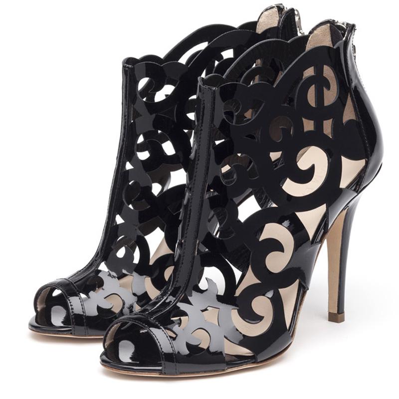 Fleur black patent sandals