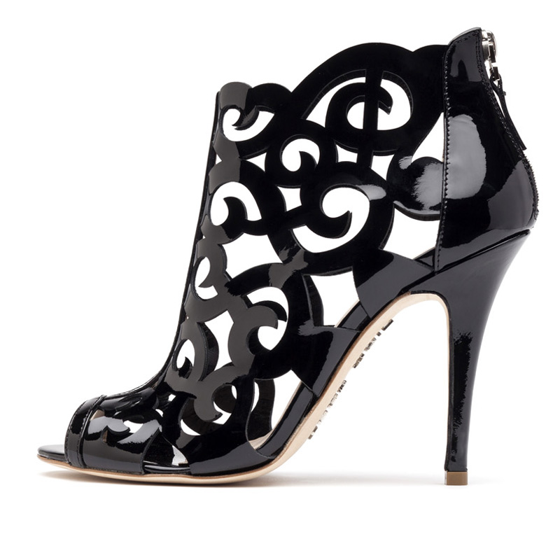 Liam Fahy: Fleur black patent sandals | Shoes,Shoes > Heels,Shoes > Sandals -  Hiphunters Shop