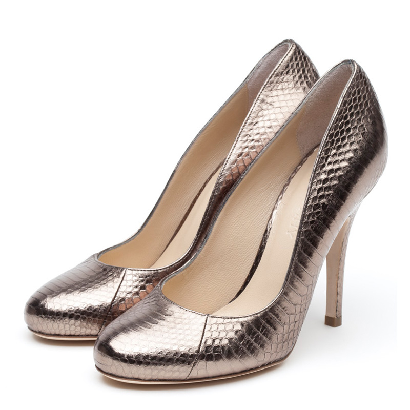 Elle metallic watersnake heels