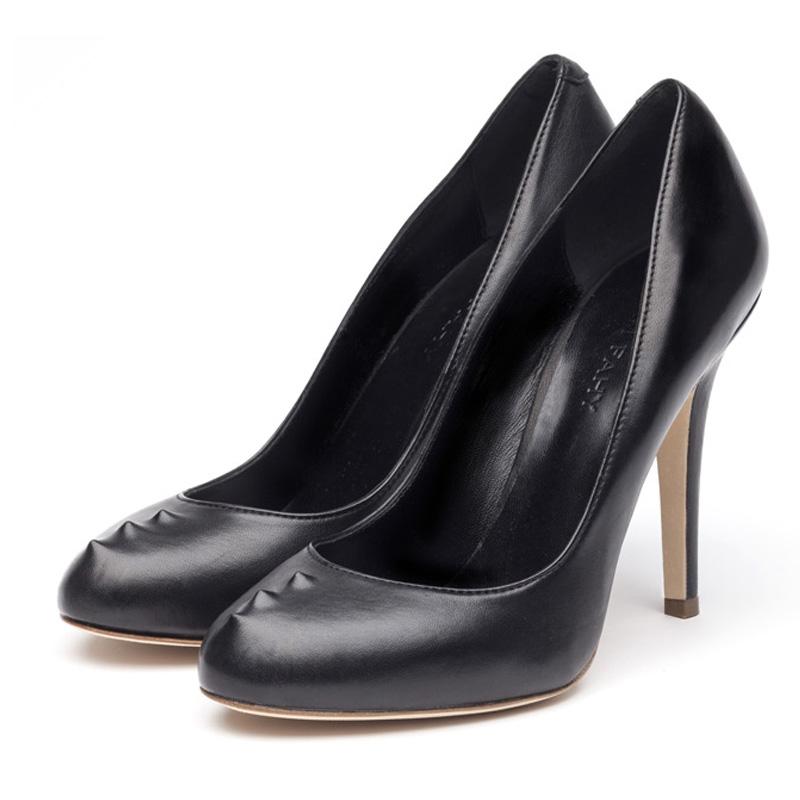 Sadie black nappa heels