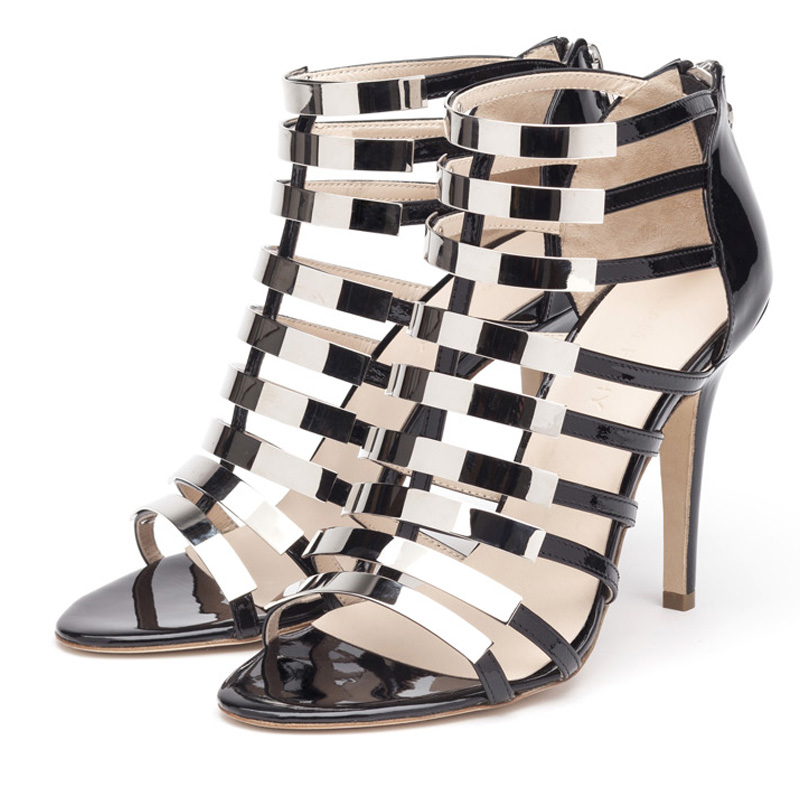 Liam Fahy: Nina black and silver heels | Shoes,Shoes > Heels,Shoes > Sandals -  Hiphunters Shop