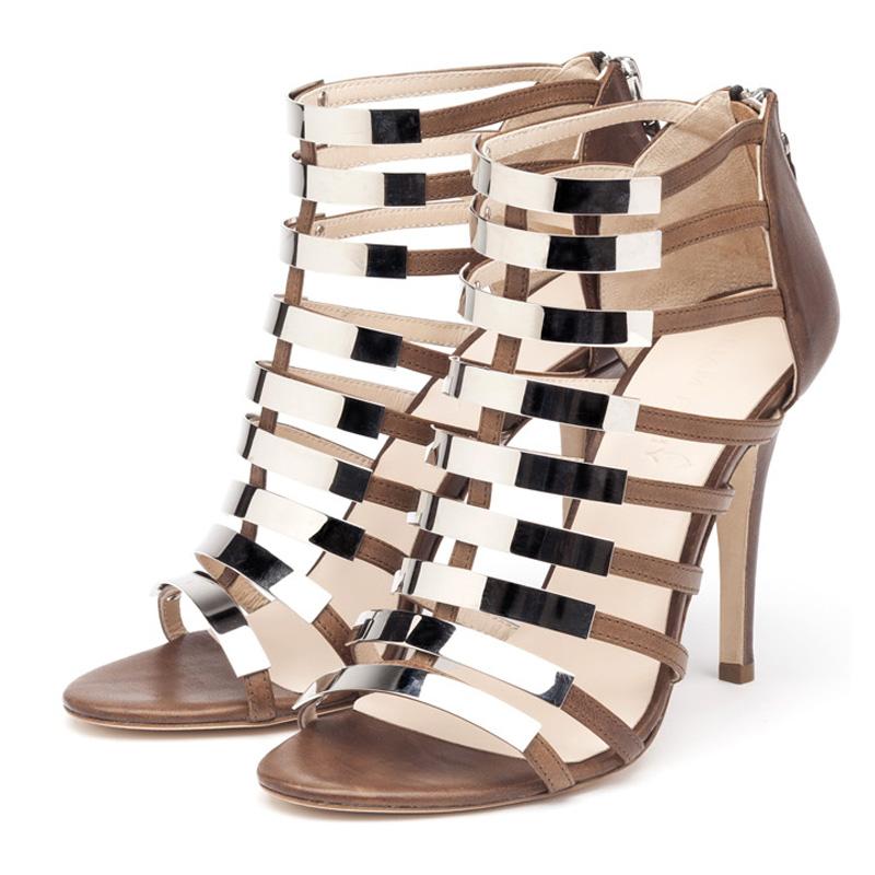 Nina brown and silver sandal heels