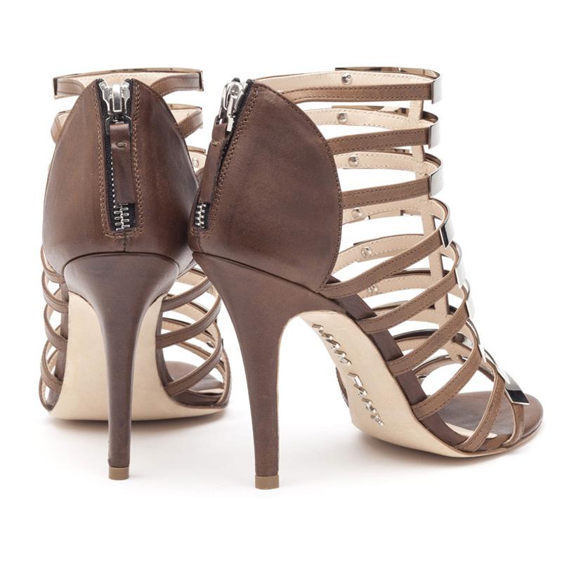 Liam Fahy: Nina brown and silver sandal heels | Shoes,Shoes > Heels,Shoes > Sandals -  Hiphunters Shop