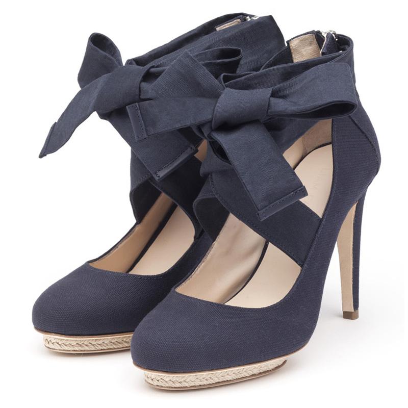 Liam Fahy: Charlotte navy canvas & raffia heels | Shoes,Shoes > Heels -  Hiphunters Shop