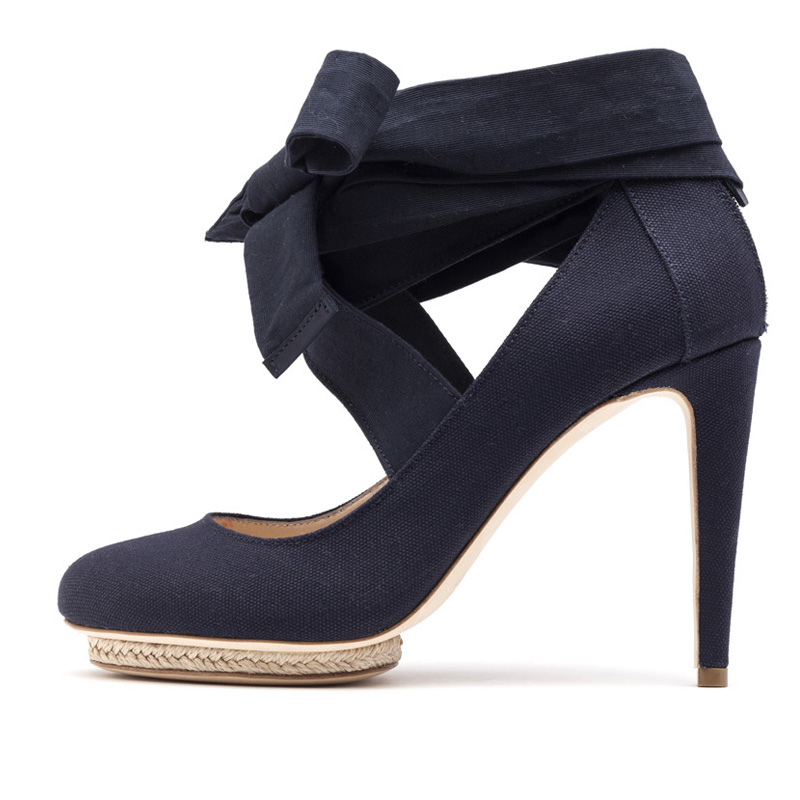 Liam Fahy: Charlotte navy canvas & raffia heels | Shoes,Shoes > Heels -  Hiphunters Shop