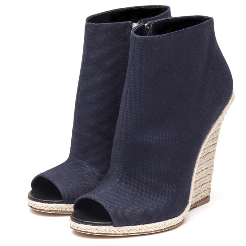 Liam Fahy: Alyse navy & raffia wedges - Hiphunters Shop