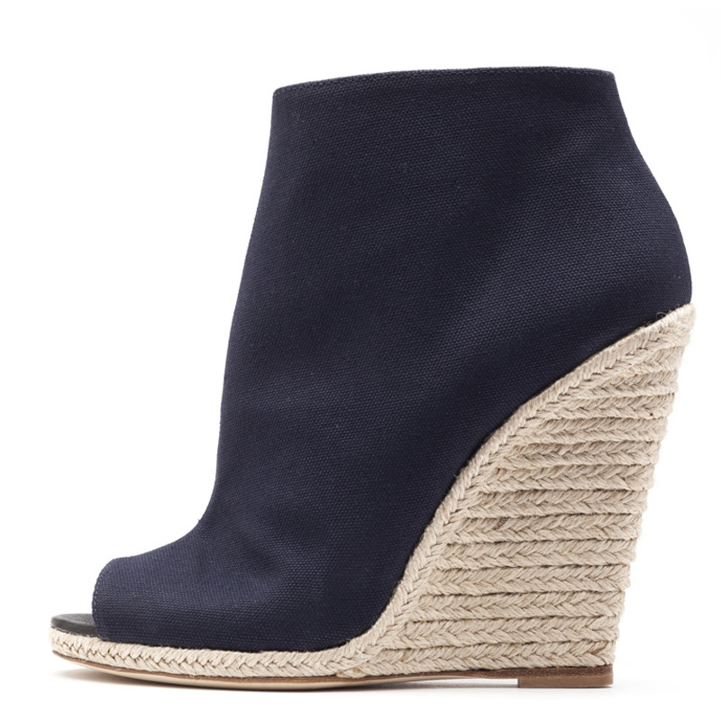 Liam Fahy: Alyse navy & raffia wedges | Shoes,Shoes > Ankle boots,Shoes > Wedges -  Hiphunters Shop