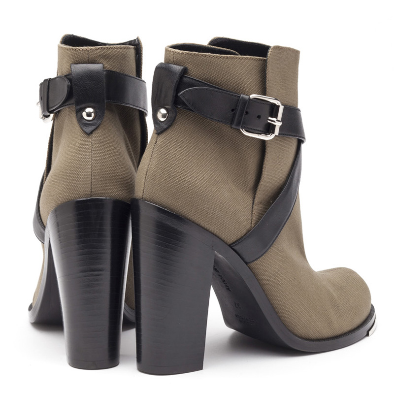 Liam Fahy: Jolie olive canvas ankle boots | Shoes,Shoes > Ankle boots -  Hiphunters Shop