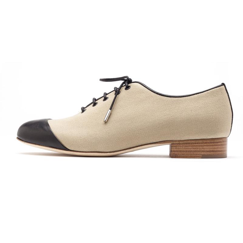 Liam Fahy: Caroline camel canvas & black nappa lace ups | Shoes,Shoes > Flats,Shoes > Lace ups -  Hiphunters Shop