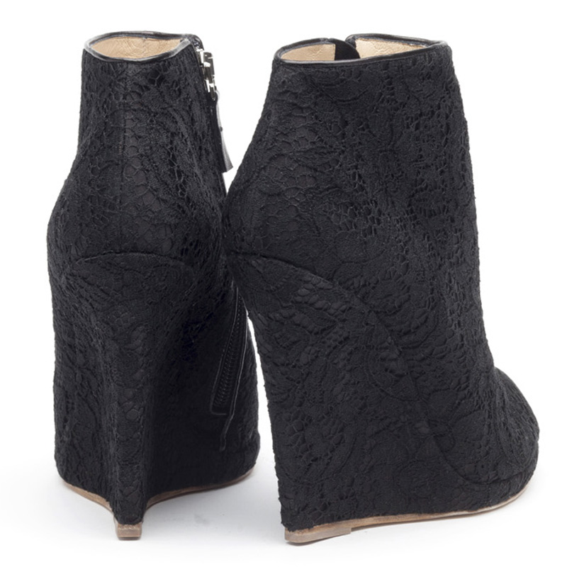 Liam Fahy: Alys black lace satin wedge boot | Shoes,Shoes > Wedges,Shoes > Ankle boots -  Hiphunters Shop