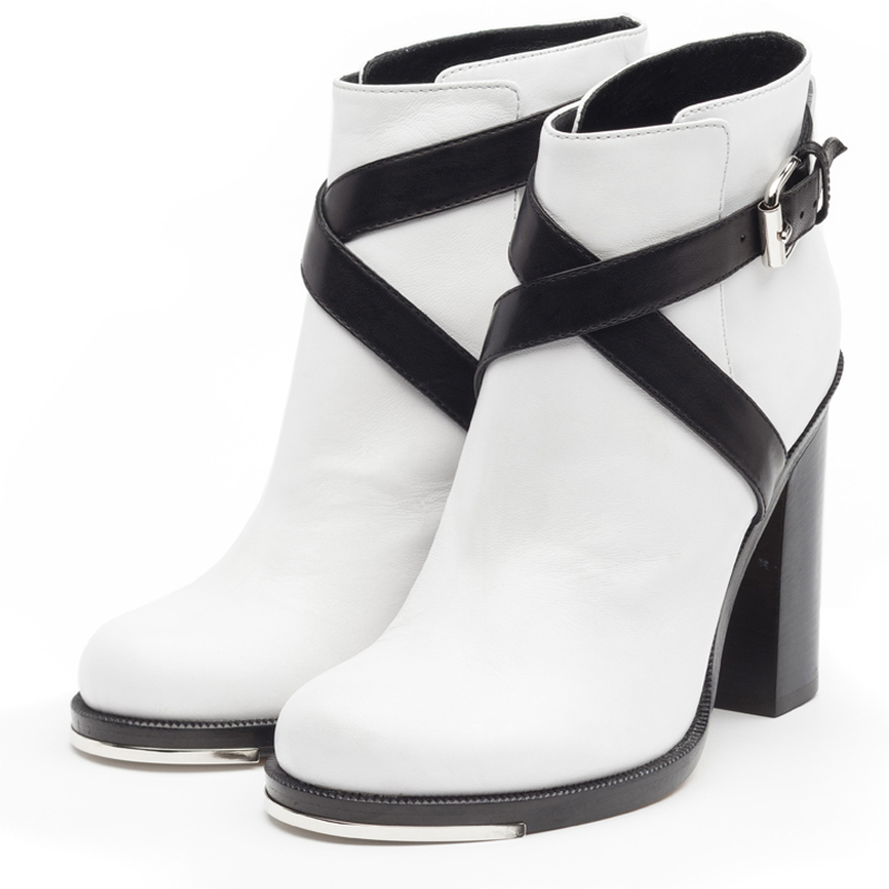 Jolie black & white ankle boots
