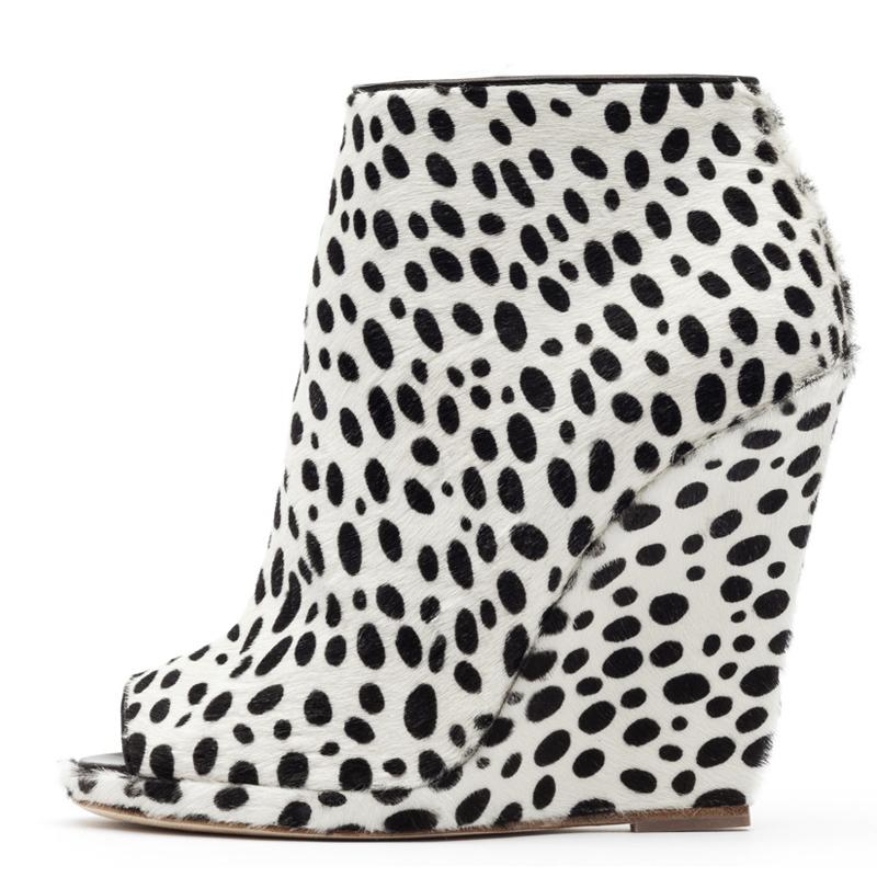 Liam Fahy: Alys dalmatian hairy calf ankle boots   Shoes,Shoes > Ankle boots,Shoes > Wedges -  Hiphunters Shop
