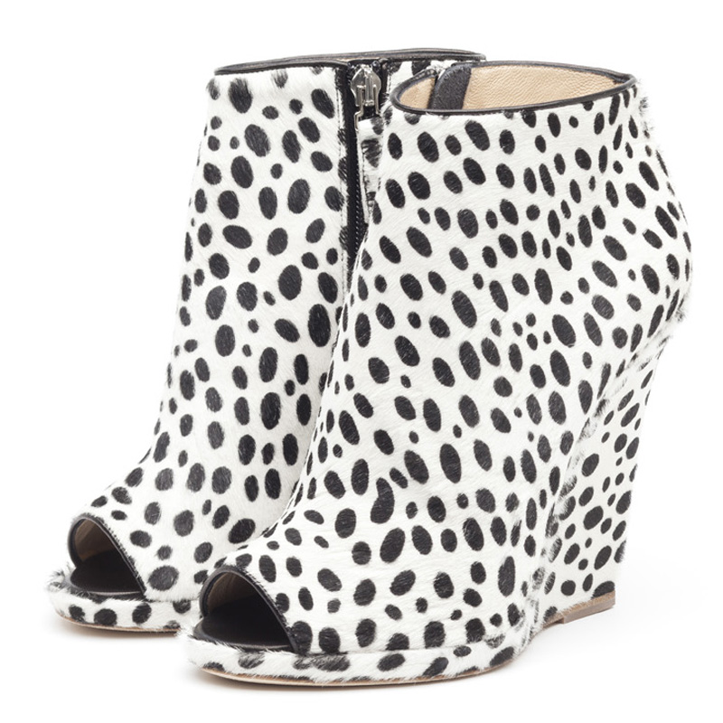 Alys dalmatian hairy calf ankle boots