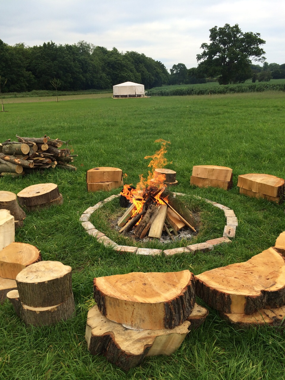 Home farm glamping campfire