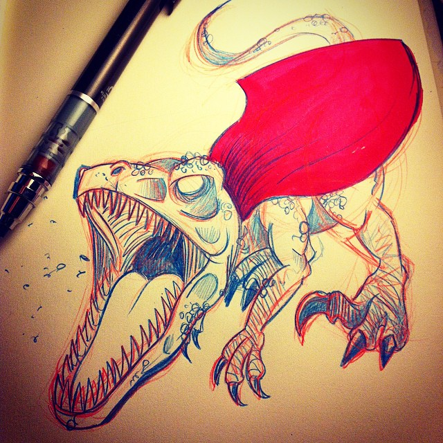 Today's client brief: a velociraptor with super hero gear for a tshirt, no complaints! Initial sketching. #illustration #dinosaur #drawing #sketch #design
