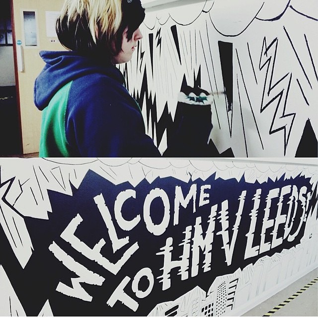 Finally finished the #hmvleeds mural today! Hers z photo of me painting it taken by the lovely @unclemario! Will post more photos of it later when I've recovered!