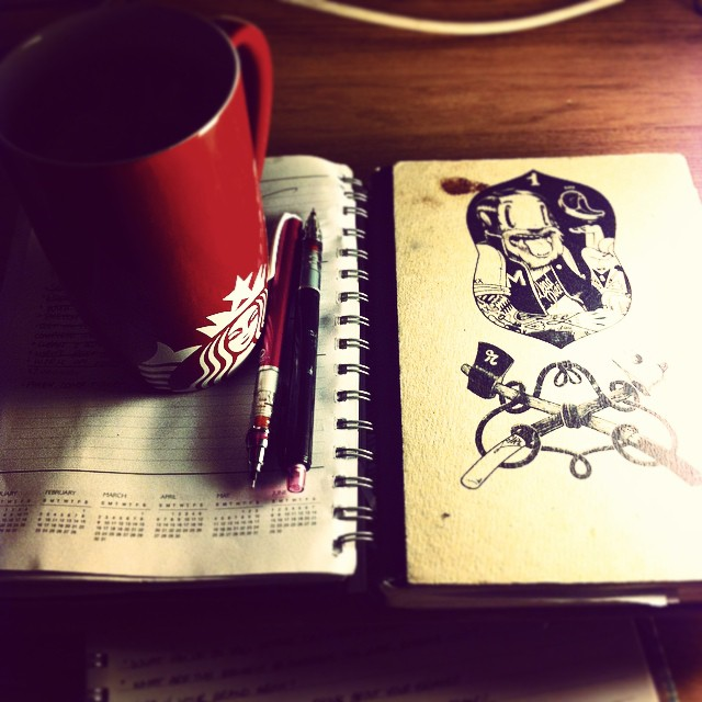 Herbal tea and sketchbook time! #illustration #sketch #drawing #mcbess #starbucks