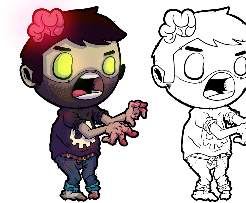 If you saw my post yesterday with the zombie character sketch here he is all finished up, well I say finished up but it's really just the start! I'm now going to develop him a range of outfits and see what looks best. Then it'll be onto 2 different zombie characters and then 2 humans. I've decided to mainly work on personal projects for a few months, possibly up until christmas. I think as an illustrator we all have our moments when we worry about money too much and it takes over, meaning we end up doing projects just to get paid, because at the end of the day we need money to survive. The more I work on personal projects the more I realise I became a freelance illustrator to work on projects I find fun and projects that interest me. It's also made me realise how much more I love what I produce when I do it purely for fun and not to try and please anyone. So just remember, do what makes you happy and not what you think will make others happy!  Keep your eyes peeled for more of this project, I'm also planning a comic and a zine too :)