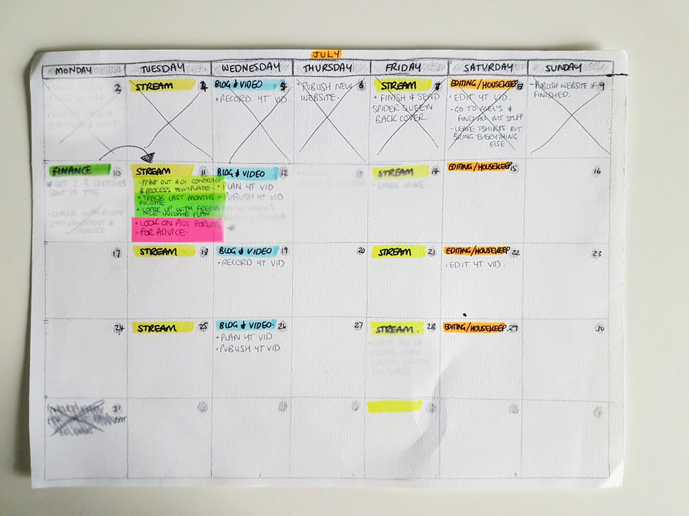 My messy calendar at the minute (excuse the fact that I've had to blur a couple of things out for confidentiality reasons).
