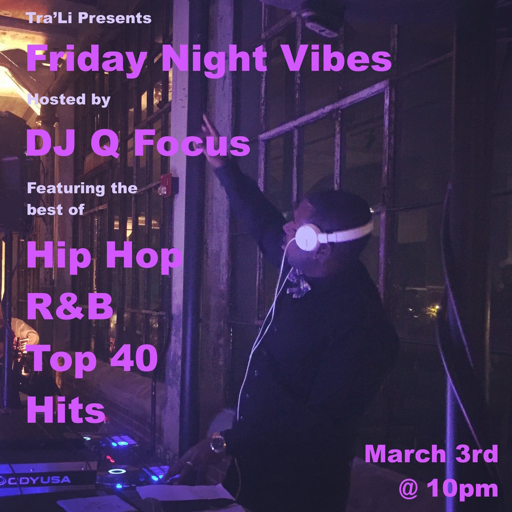 Come celebrate the end of the work week with DJ Q Focus and his selection of the best Hip Hop, R&B and top 40 hits. Music starts at 10pm and goes till close. No cover will be charged. Dancing will be highly encouraged. Drink specials will be available. Look forward to seeing you there!
