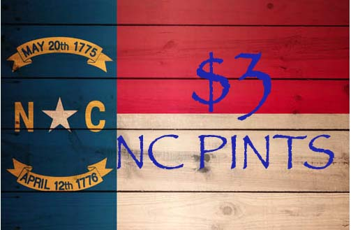 All North Carolina brewed pints only $3 on Mondays