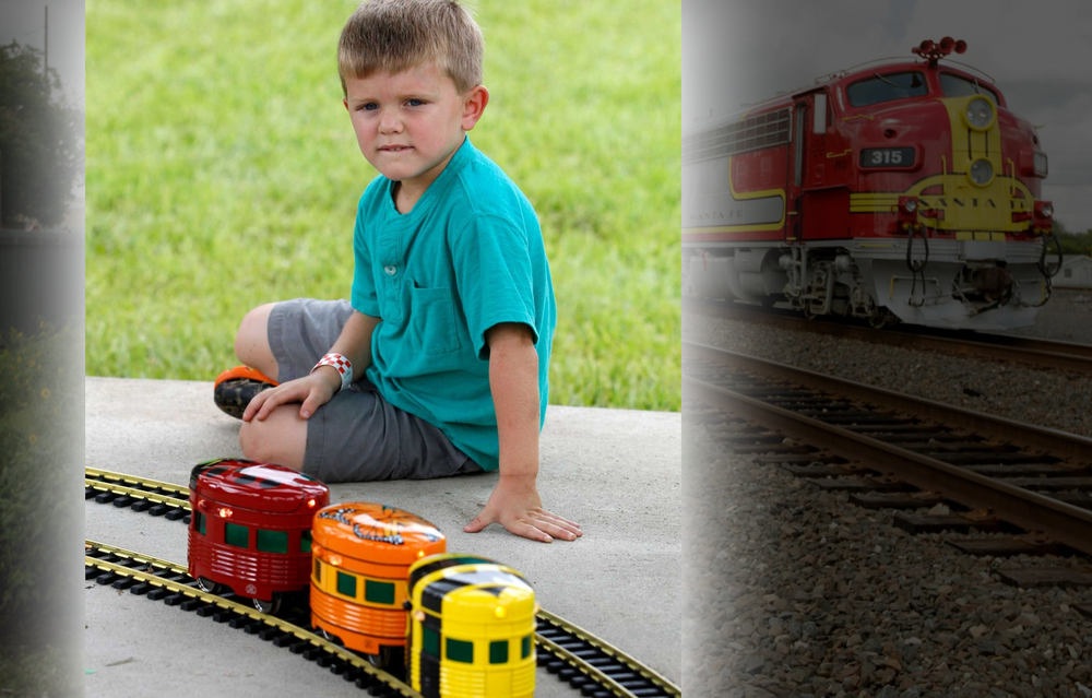 Watching the cute little cars on their own Garden Railroad track.