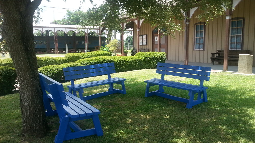 RRM was the beneficiary of Amol Perubhatla's Eagle Project, blue benches to enhance Museum grounds