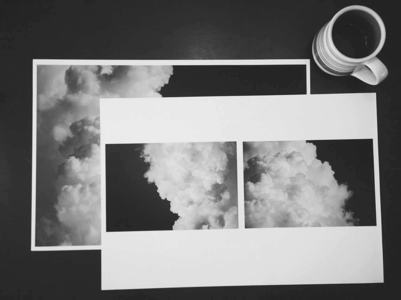 "Printing diptych proofs from my ""look toward the heavens"" series. Hoping to have a large one complete in time for the next Revolve Gallery show."